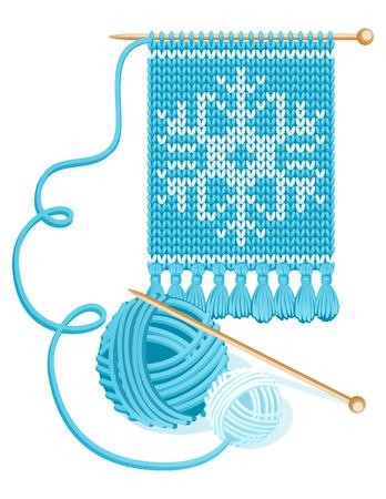 wool fiber: Ilustraci�n vectorial - Tejidos de punto de color azul y pa�uelo de hilo bolas