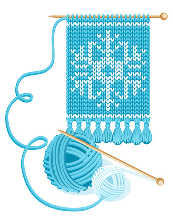 Vector illustration - Knitted blue scarf and yarn balls Vector