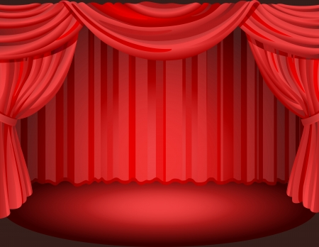 Vector illustration - Red curtains on a stage. Vector