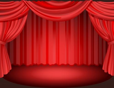 Vector illustration - Rode gordijnen op een podium.