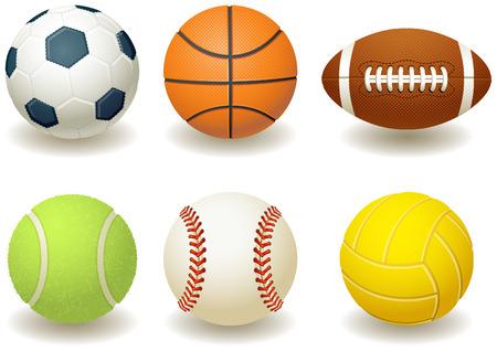 equipe sport: Vector illustration - Ballons pour les sports d'�quipe Illustration