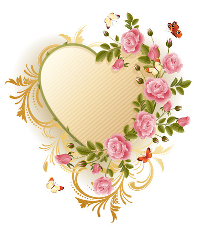Vector illustration - Frame in the Victorian style, with roses and butterflies Illustration
