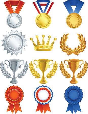 Vector illustration - Awards icon set Stock Vector - 4090527