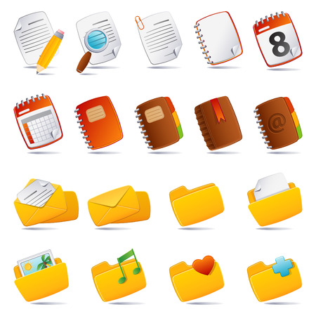 Vector illustration - documents, mail and and folder icon set Illustration