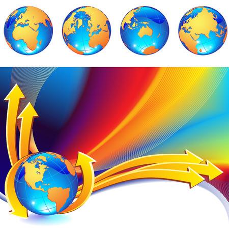 vector illustration - globe on a rainbow abstract background Illustration