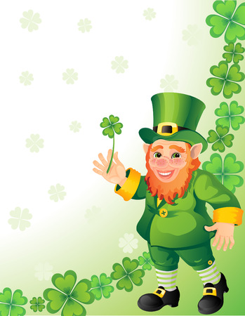 Vector illustration - leprechaun with clover in a hand Stock Vector - 4272000