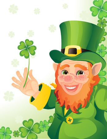 st  patrick: Vector illustration - leprechaun with clover in a hand