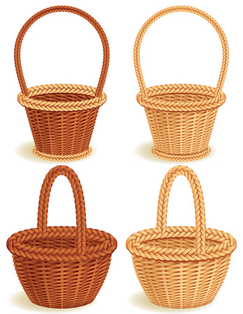 handcrafted: Vector illustration - Four wattled baskets
