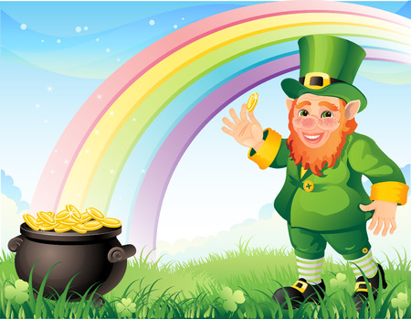 pot of gold: Vector illustration - Lepracon with a gold pot