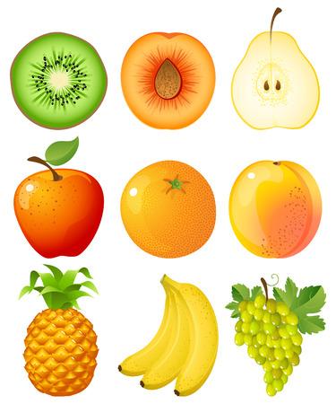 pineapples: Vector illustration - set of fruits