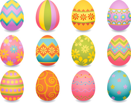 easter decorations: Vector illustration - easter egg icons