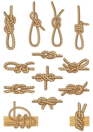canotaje: Ilustraci�n vectorial - conjunto de nudos de navegaci�n Vectores