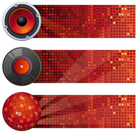 Vector illustration - three red music banners Vector