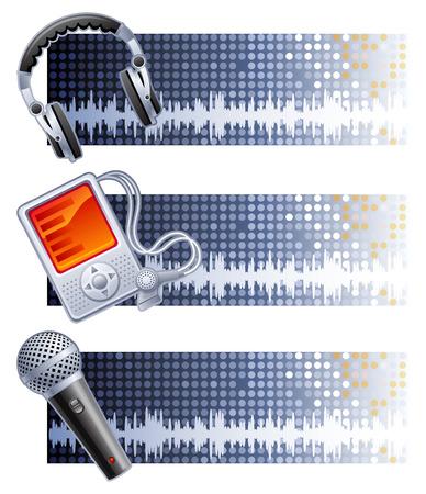 mic: Vector illustration - tre grigio musica banner Vettoriali