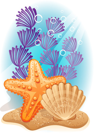 starfish beach: Vector illustration - tropical sea bottom Illustration