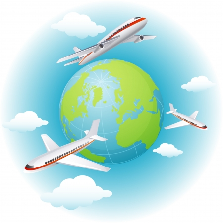 Vector illustration - airplanes flying around the Earth