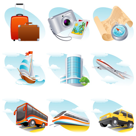Vector illustration - travel icon set Stock Vector - 4719969