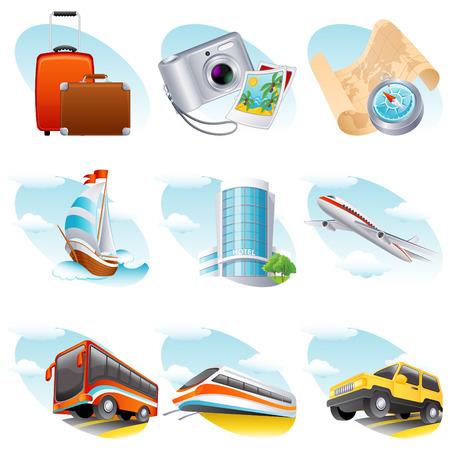 Vector illustration - travel icon set Stock Vector - 4719969
