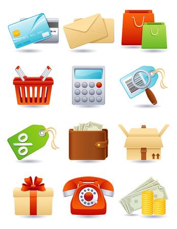 coin purses: Vector illustration - shopping icon set Illustration