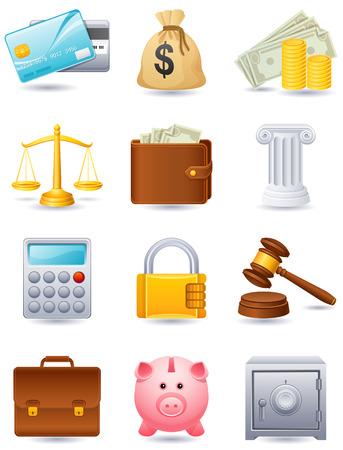 cajas fuertes: Ilustraci�n vectorial - Finanzas icono conjunto Vectores