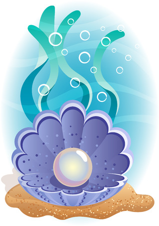 at the bottom of: Vector illustration - Pearl in the shell at the bottom of the sea Illustration