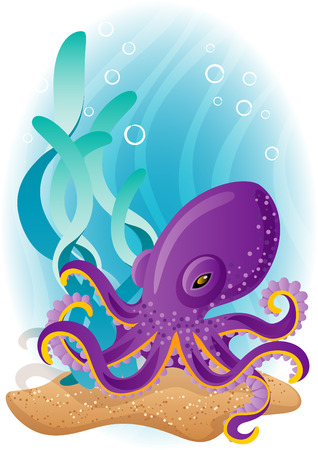 at the bottom of: Vector illustration - purple octopus  on the seabed