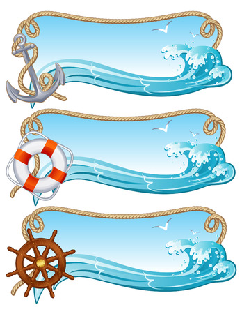 Vector illustration - sailing banners Stock Vector - 5084805