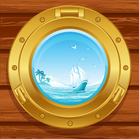 window hole: Vector illustration - brass porthole on a wooden covering