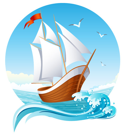 Vector illustration - sailing ship emblem Illustration