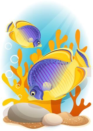 algas marinas: Ilustración vectorial - Dos ángel en el fondo del mar