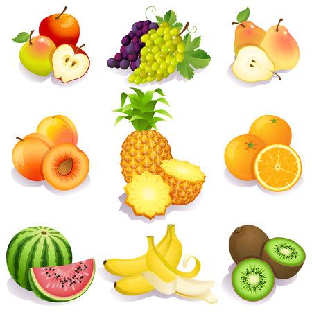 pineapples: Ilustraci�n vectorial - conjunto de iconos de frutas