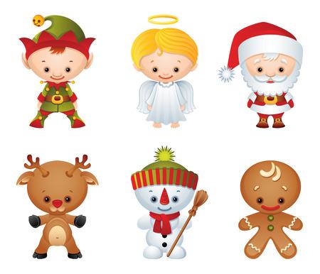 duendes: Ilustraci�n vectorial - Navidad caracteres icono conjunto