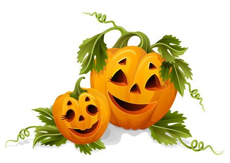 zucche halloween: Vector illustration - due zucche halloween Vettoriali