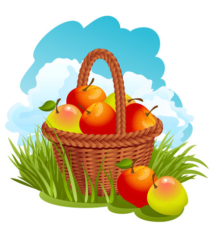 Vector illustration - Basket with red apples Vector