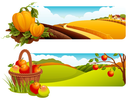 Vector illustration - Autumn rural landscape banners