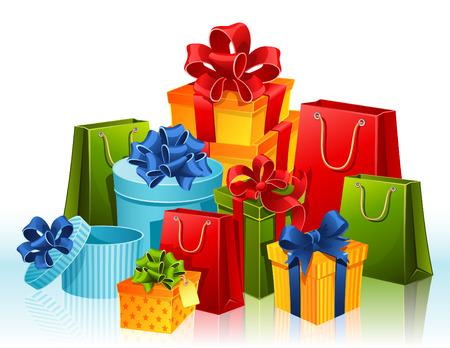 Illustratie - geschenk dozen en boodschappentassen Vector Illustratie
