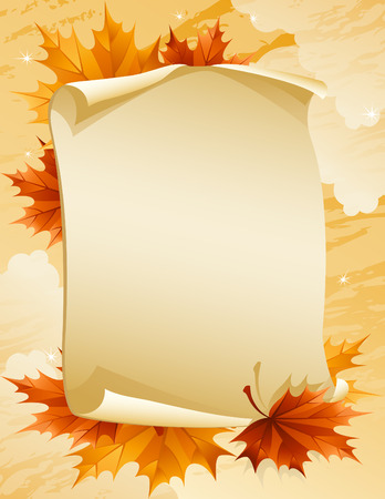 leafage: Illustration - paper scroll with autumn leaves Illustration