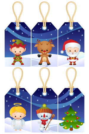 angel tree: Illustration - Christmas characters gift tags