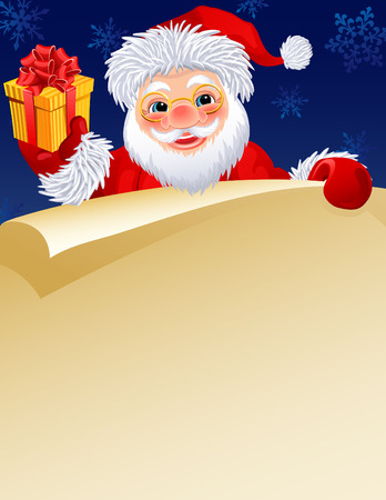 christmas list: Vector illustration -  Santa Claus with a paper scroll and gift