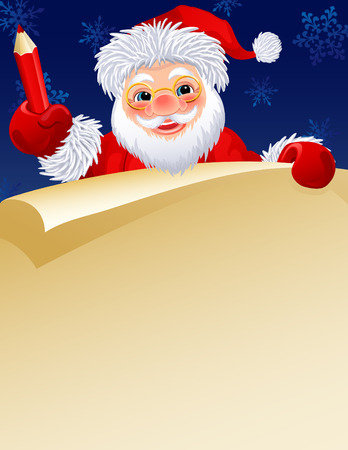 Vector illustration -  Santa Claus with a paper scroll and pencil Vector
