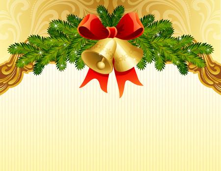 campanas navidad: Fondo de Navidad de oro