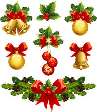 campanas navide�as: ilustraciones vectoriales - Navidad adornos iconos