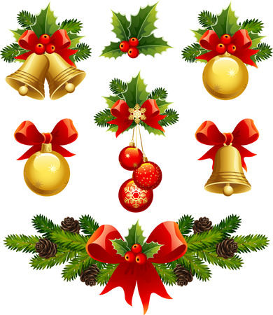 vector illustrations - christmas ornaments icons Vector