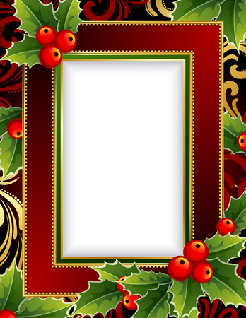 Vector illustration -Christmas frame with holly Stock Vector - 5905055