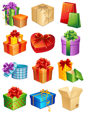 gift bag: Vector illustration - gift box icon set Illustration
