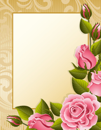 victorian valentine: Vector illustration - pink roses and paper