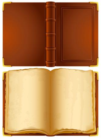 copertina libro antico: Illustrazione vettoriale - libro antico aperto