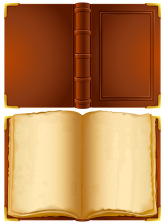 old leather: Vector illustration - open old book