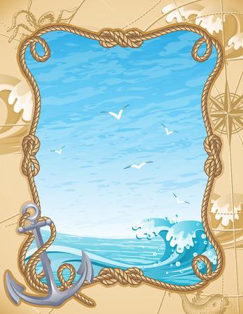 m�ve: Vektor-Illustration - altmodischen Segeln Hintergrund