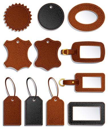 conjunto de etiquetas de equipaje de cuero y etiqueta Ilustración de vector